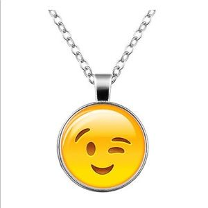 Jewelry - Winking 😉 Emoji Glass & Silver Necklace